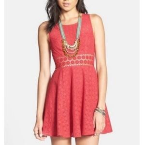Free People daisy fit and flare dress in red